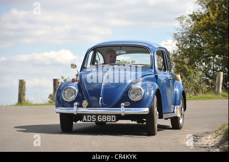 1966 VW Volkswagen Beetle classic stock air cooled bug cornering - Stock Photo