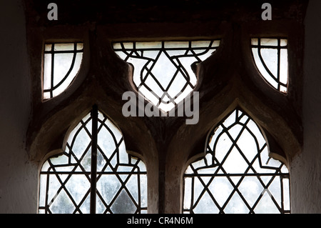 Window tracery in St. Peter`s Church, Grandborough, Warwickshire, UK - Stock Photo