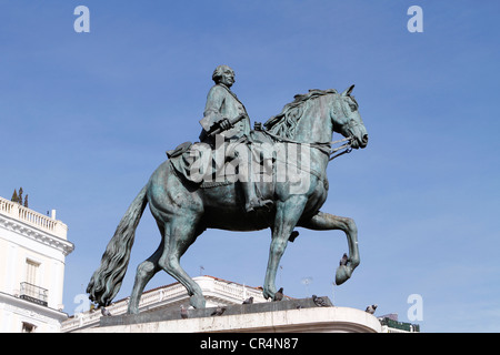 Mounted statue of Charles III of Spain at Puerta del Sol in Madrid, Spain - Stock Photo