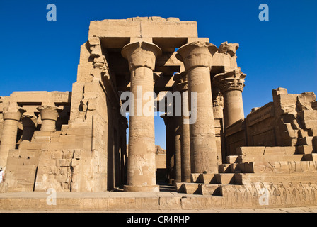 Egypt, Upper Egypt, NIle Valley, Kom Ombo Temple dedicated to Sobek, the god with a crocodIle's head - Stock Photo