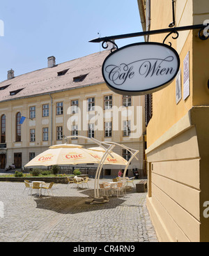 Cafe Wien in the historic town centre, Sibiu, Romania, Europe - Stock Photo