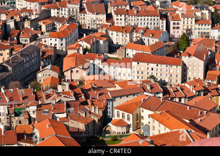 France, Haute Loire, Le Puy en Velay, a stop on el Camino de Santiago, overview of the city from at the top of Notre - Stock Photo