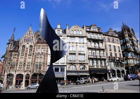 Belgium, Brussels, Mont des Arts District, sculpture - Stock Photo