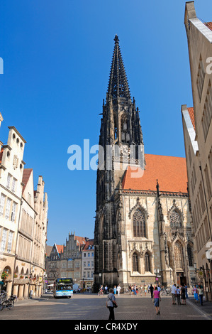 St. Lamberti Church and Prinzipalmarkt square, Muenster, Muensterland, North Rhine-Westphalia, Germany, Europe, - Stock Photo