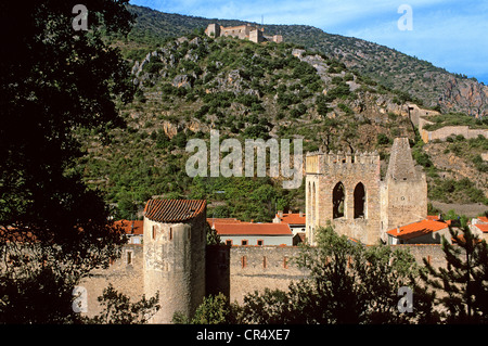 France, Pyrenees Orientales, Villefranche de Conflent, labelled Les Plus Beaux Villages de France, Medieval town - Stock Photo