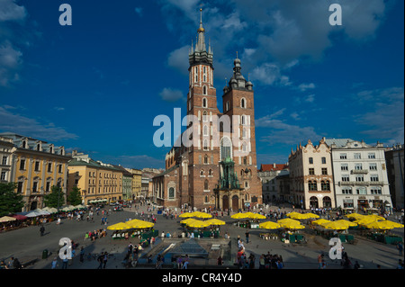 St. Mary's Church and flower market on the Rynek or market square, Krakow, Malopolska, Poland, Europe - Stock Photo