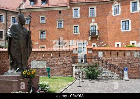Memorial of Pope John Paul II. in front of Cathedral museum, Wawel, UNESCO World Heritage Site, Krakow, Malopolska, - Stock Photo