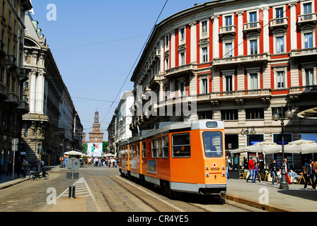 Italy, Lombardy, Milan, tramway on Piazza Cordusio - Stock Photo