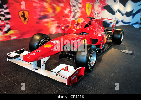 Formula One race car in the Ferrari World on Yas Island, Abu Dhabi, United Arab Emirates, Arabia, Asia - Stock Photo
