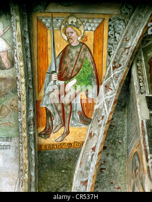 Charlemagne, 2.4.742 - 28.1.814, Roman Emperor 800 - 814, King of the Franks 768 - 814, fresco, Cathedral of Brixen - Stock Photo
