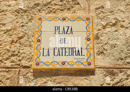 Street sign at the Plaza de la Catedral square, old town Habana Vieja, Havana, Cuba, Caribbean - Stock Photo