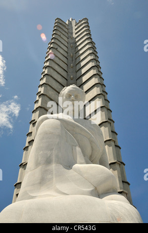 Monumento José Martí, monument to José Martí, Cuban writer and national hero, 105m, Plaza de la Revolución, Havana, - Stock Photo