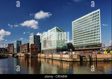 Spiegel publishing house and the Ericus-Kontor office building on Ericusspitze in HafenCity, Hamburg, Germany, Europe - Stock Photo