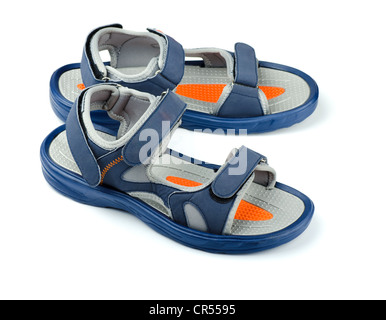 Pair of blue mens sandals isolated on white - Stock Photo