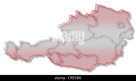 Silhouette Map Of Austria And Colors Flag Inside Vector - Political map of austria