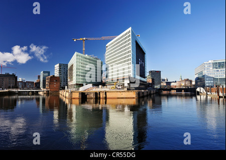 New buildings of the Spiegel publishing house on the Ericusspitze in the Hafencity district in Hamburg, under construction - Stock Photo