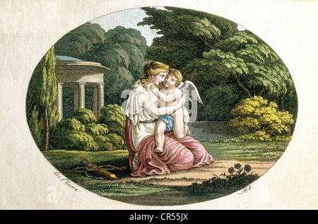 Venus, goddess of love and beauty, half length, 'Little Venus and Cupid', illustration, engraving, coloured, circa - Stock Photo