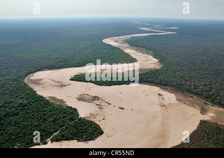 Aerial view, dried up river bed and the Gran Chaco dry forest, Salta, Argentina, South America - Stock Photo