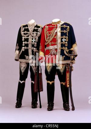Wilhelm II, 27.1.1859 - 4.6.1941, German Emperor 1888 - 1918, two of his uniforms (Leibhusaren Regiment), Leib Husaren, - Stock Photo