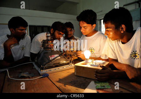 Vocational training as an electrician at the Don Bosco Technical Centre DBTC, vocational students working on an - Stock Photo