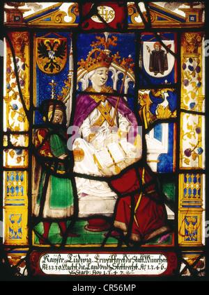 Louis IV 'the Bavarian', 1282 - 11.10.1347, Holy Roman Emperor 1328 - 1347, half length, on the throne, first half - Stock Photo