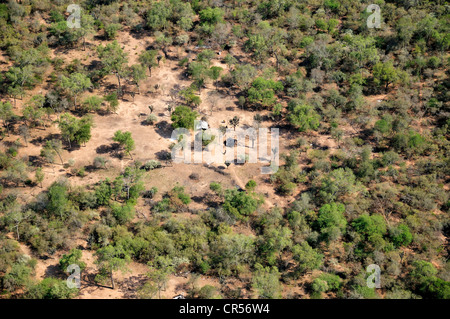 Aerial view of the indigenous village of El Escrito in the forests of the Gran Chaco, Salta, Argentina, South America - Stock Photo