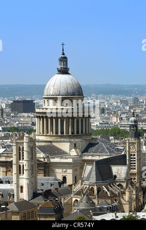 France, Paris, the Pantheon, the tower Clovis and St Etienne du Mont church - Stock Photo
