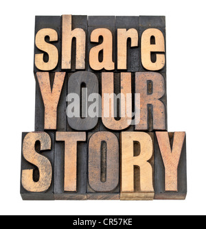 share your story phrase - isolated text in vintage letterpress wood type - Stock Photo