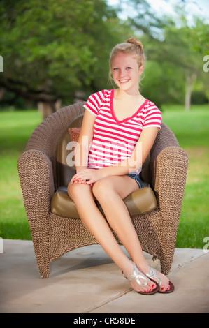 Outdoor portrait of blond teenage girl - Stock Photo