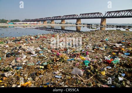 Garbage dump on the banks of river Yamuna, Agra, Uttar Pradesh, India, Asia - Stock Photo