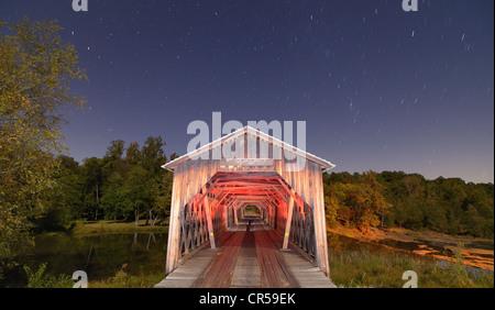 Watson Mill Covered Bridge at Watson Mill State Park, Georgia, USA. - Stock Photo