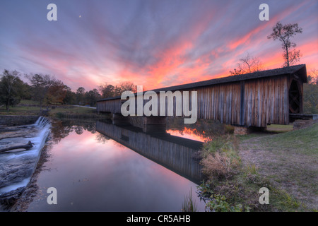 Watson Mill Covered Bridge in North Georgia, USA at dusk. - Stock Photo
