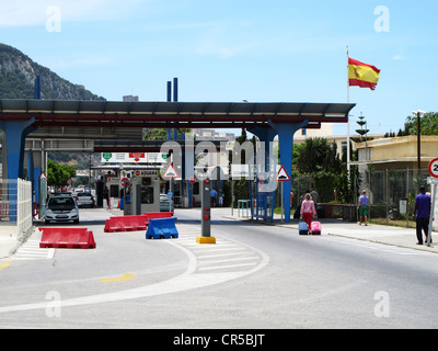 Border crossing between Spain and Gibraltar from the Spanish side - Stock Photo