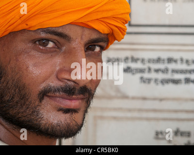 Sikh devotee from New Delhi visiting the Golden Temple, Amritsar, Punjab, India, Asia - Stock Photo