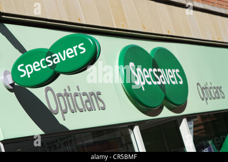 Specsavers sign outside a retail shop - Stock Photo