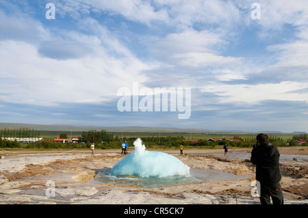 Iceland, Sudurland Region, Haukadalur Valley, Geysir site, Strokkur Geyser - Stock Photo