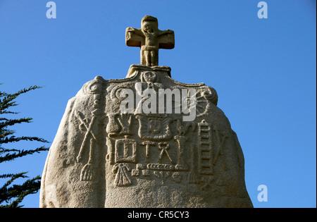 France, Cote d'Armor, St Uzec, menhir - Stock Photo