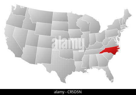 Political map of United States with the several states where North Carolina is highlighted. - Stock Photo