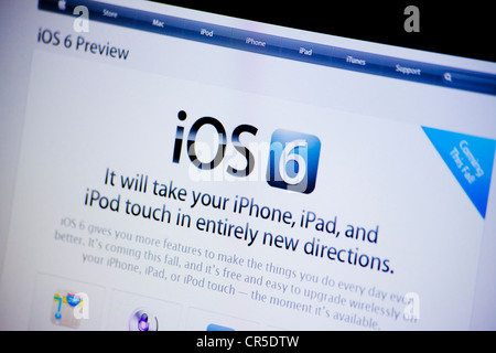 Apple website screenshot with iOS 6 presentation page - Stock Photo