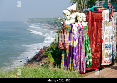 Souvenir shop for western tourists, above the beach of Varkala, Kerala, India, Asia - Stock Photo