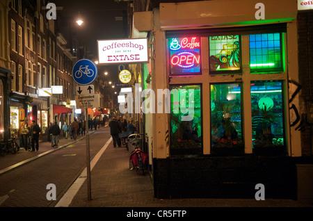 Netherlands, Amsterdam, Red Light District, coffeeshop - Stock Photo