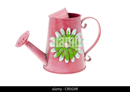 Red ornate watering can. Studio shot with a white background. - Stock Photo
