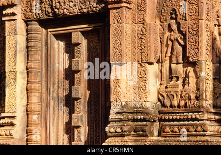 Bantei Shrei, Banteay Srei, temple with beautiful rock carvings, Siem Reap, Cambodia, Southeast Asia - Stock Photo