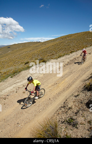 Young mountain bikers, Carrick Track, Carrick Range, Central Otago, South Island, New Zealand - Stock Photo