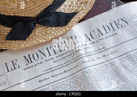 Canada, New Brunswick, Acadia, Caraquet, Acadian historic village, Le Moniteur acadien period newspaper - Stock Photo