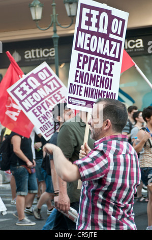 Antifascist protest in Athens, Greece against the extreme right party Golden Dawn which . - Stock Photo