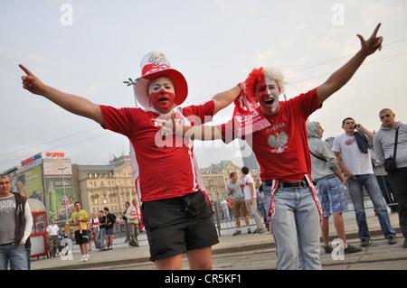 Poland fans at EURO 2012 - Stock Photo