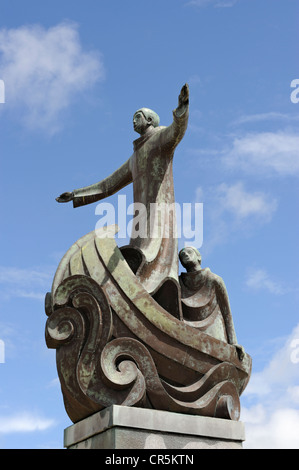 St Brendan the Navigator's statue in Wolfe Tone Square, Bantry, West Cork, Republic of Ireland - Stock Photo