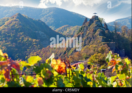 Burg Are castle ruins at Altenahr in the Ahrtal valley, Rhineland-Palatinate, Germany, Europe - Stock Photo