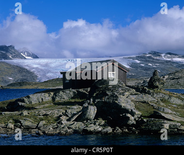 Mountain hut and glaciers, Sognefjell, Sogn og Fjordane, Norway, Scandinavia, Europe - Stock Photo